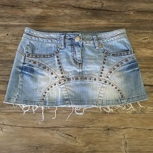 Candies Distressed Denim Jean Skirt w/ Studs Sz 3
